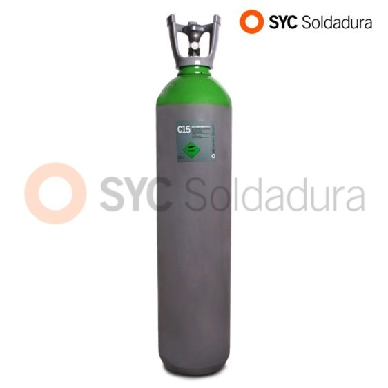 20L 200 C15 Argon and carbon dioxide industrial cylinder green grey