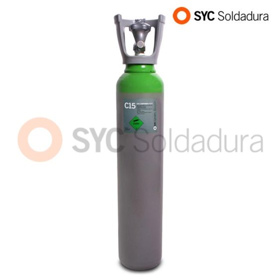 7L 140 botella industrial C15 CO2 dioxido de carbono argon verde gris