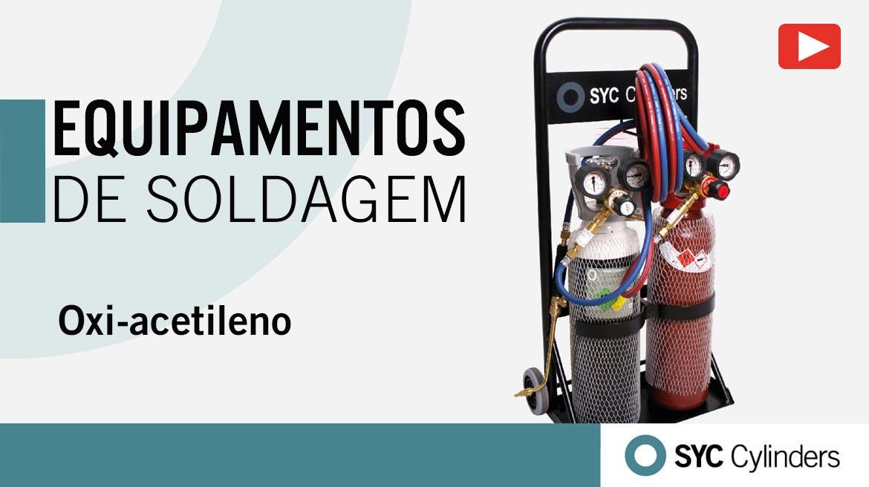vídeo equipamento oxigênio acetileno cilindros de gás sob pressão