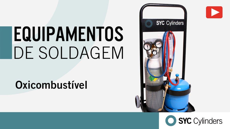 vídeo equipamento oxigênio butano cilindros de gás sob pressão